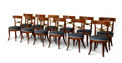 Twelve Neoclassical Lacquered Wood Chairs, Italy Early 19th Century - Seating Style