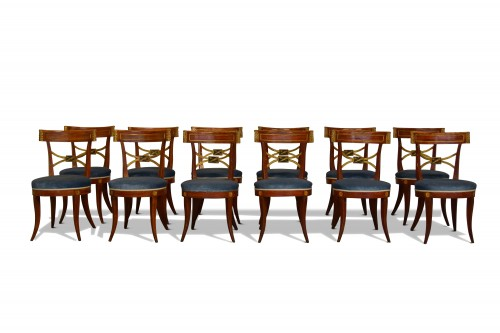 Twelve Neoclassical Lacquered Wood Chairs, Italy Early 19th Century -