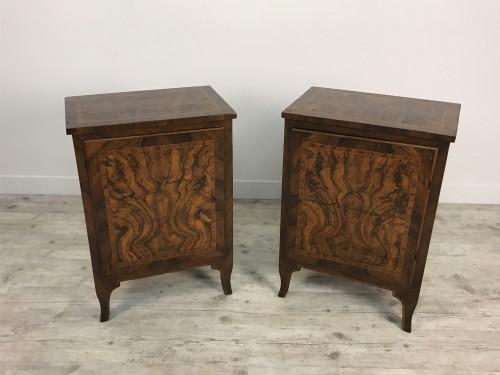 Furniture  - 18th Century, Pair of Italian Walnut Wood Bedside Tables