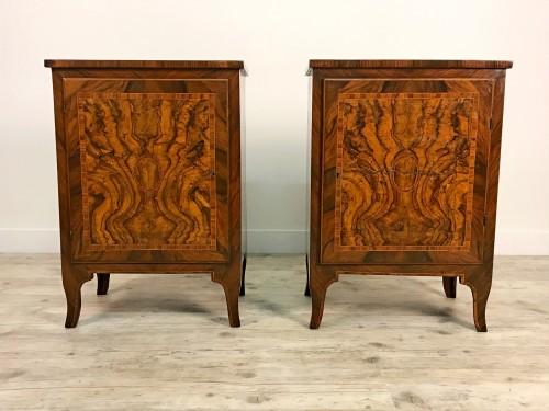 18th Century, Pair of Italian Walnut Wood Bedside Tables  -