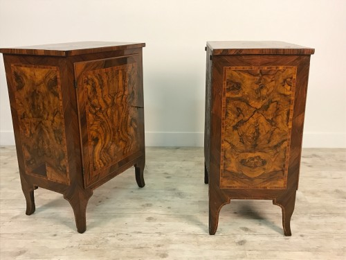 18th century - 18th Century, Pair of Italian Walnut Wood Bedside Tables