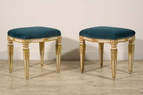18th Century Pair of Italian Neoclassical Lacquered Wood Stools