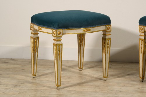 Seating  - 18th Century Pair of Italian Neoclassical Lacquered Wood Stools