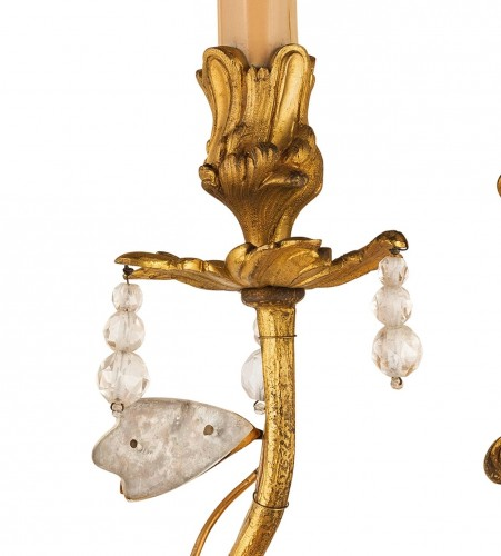 Pair Of Two-light Gilt Bronze And Rock Crystal Sconces  - Lighting Style