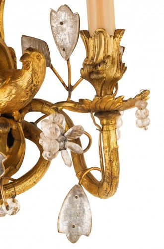 Lighting  - Pair Of Two-light Gilt Bronze And Rock Crystal Sconces