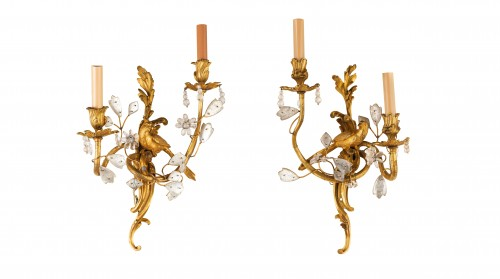 20th century - Pair Of Two-light Gilt Bronze And Rock Crystal Sconces