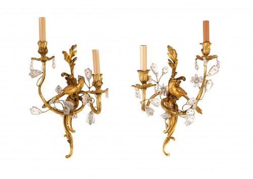 Pair Of Two-light Gilt Bronze And Rock Crystal Sconces  -