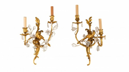 - Pair Of Two-light Gilt Bronze And Rock Crystal Sconces