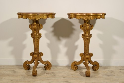 Furniture  - 19th Century Pail Of Italian Giltwood Gueridon