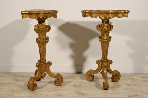 19th Century Pail Of Italian Giltwood Gueridon -