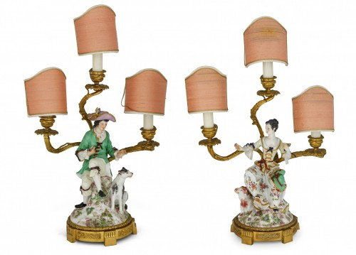 19th Century, Pair Of French Golden Bronze Candelabra And Polychrome Porcel