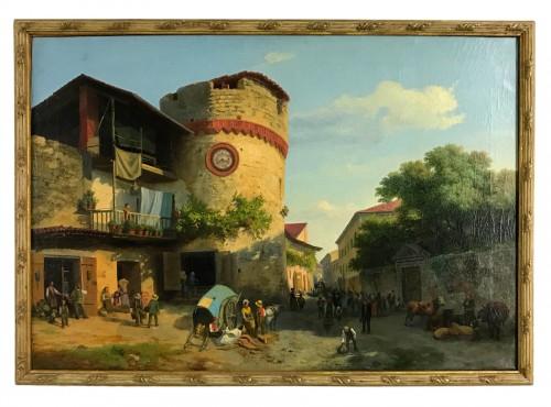 Market At Giavenp  -  Carlo Piacenza (1814-1887)