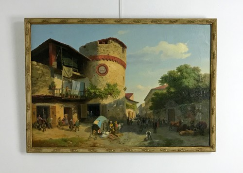 Paintings & Drawings  - Market At Giavenp  -  Carlo Piacenza (1814-1887)