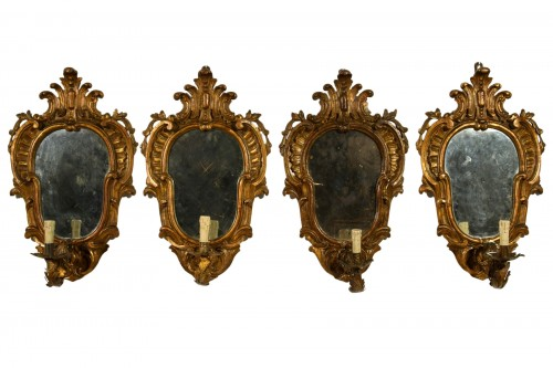 19th Century, Four Italian Carved Giltwood Sconces