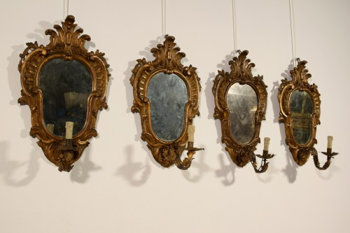 Lighting  - 19th Century, Four Italian Carved Giltwood Sconces