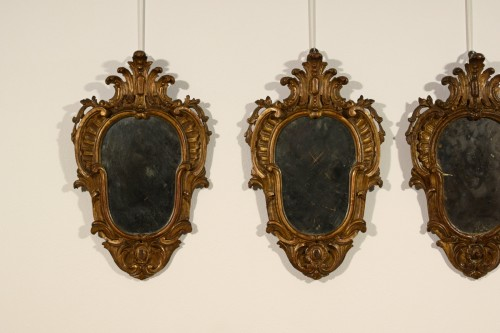 19th century - 19th Century, Four Italian Carved Giltwood Sconces