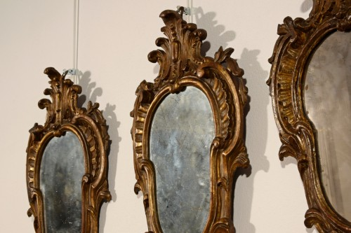 19th Century, Four Italian Carved Giltwood Sconces -
