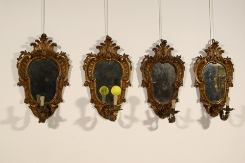- 19th Century, Four Italian Carved Giltwood Sconces
