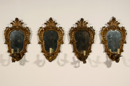 Antiquités - 19th Century, Four Italian Carved Giltwood Sconces