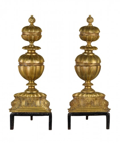 Pair of gilded and chiselled bronze fireplace chenets France