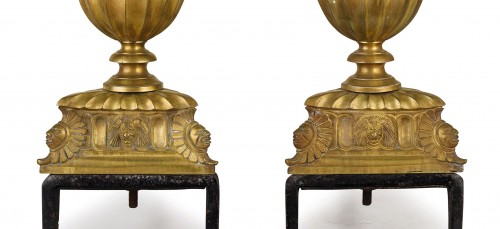 Decorative Objects  - Pair of gilded and chiselled bronze fireplace chenets France