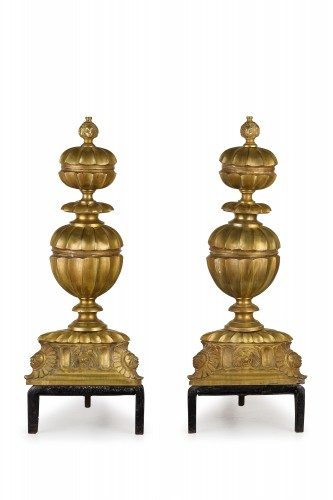 Pair of gilded and chiselled bronze fireplace chenets France  -