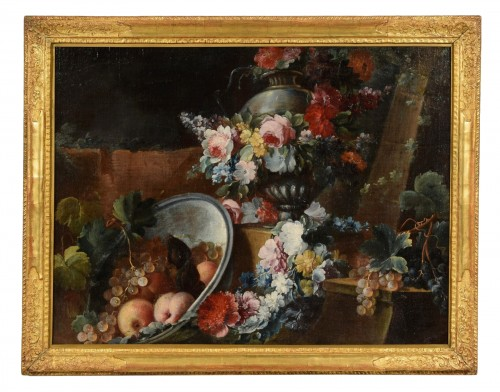 Still life with flowers and fruit composition by Michele Antonio Rapos