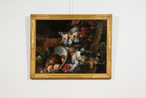 Paintings & Drawings  - Still life with flowers and fruit composition by Michele Antonio Rapos