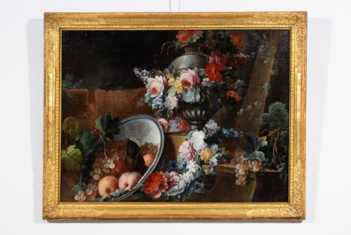Still life with flowers and fruit composition by Michele Antonio Rapos -