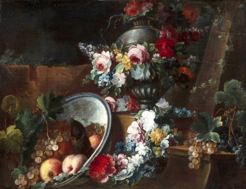 18th century - Still life with flowers and fruit composition by Michele Antonio Rapos