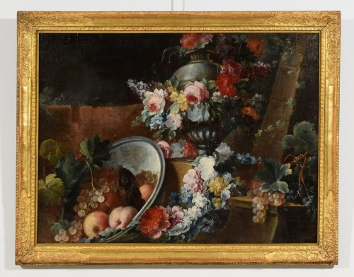 Still life with flowers and fruit composition by Michele Antonio Rapos - Louis XV