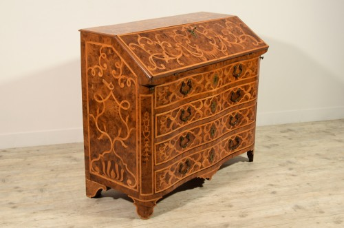 Furniture  - 18th century, Italian Inlaid Wood Chest of Drawers with Secretaire