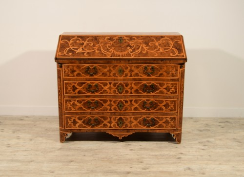 18th century, Italian Inlaid Wood Chest of Drawers with Secretaire  -
