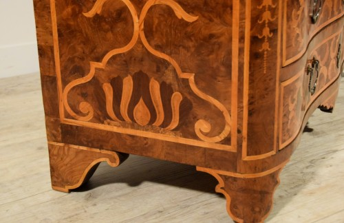 Antiquités - 18th century, Italian Inlaid Wood Chest of Drawers with Secretaire