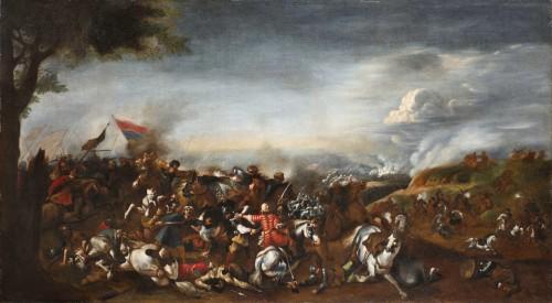 Battle between Turks and Christians - Italian school of the 17th century