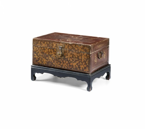 20th century, China lacquered and golden wood Trunk -