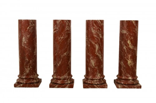 19th Century, Four Wood Columns Lacquered in Faux Rosso di Verona Marble