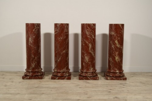 19th Century, Four Wood Columns Lacquered in Faux Rosso di Verona Marble - Decorative Objects Style
