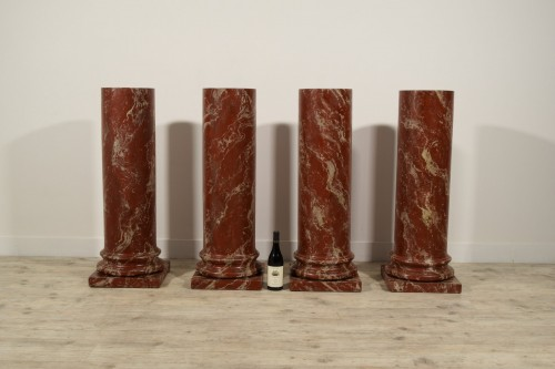 19th century - 19th Century, Four Wood Columns Lacquered in Faux Rosso di Verona Marble