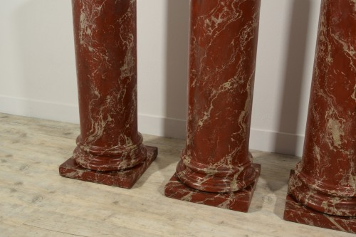 19th Century, Four Wood Columns Lacquered in Faux Rosso di Verona Marble -