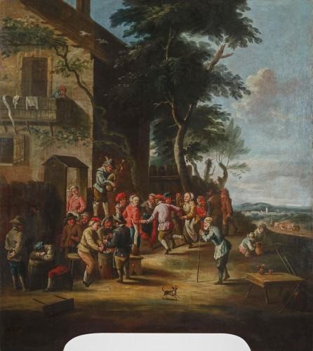 Peasants dancing in front of the tavern - 18th Century, Italian painting