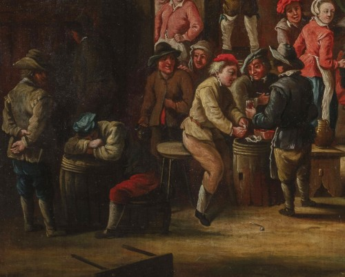 Peasants dancing in front of the tavern - 18th Century, Italian painting - Paintings & Drawings Style
