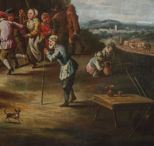 Paintings & Drawings  - Peasants dancing in front of the tavern - 18th Century, Italian painting