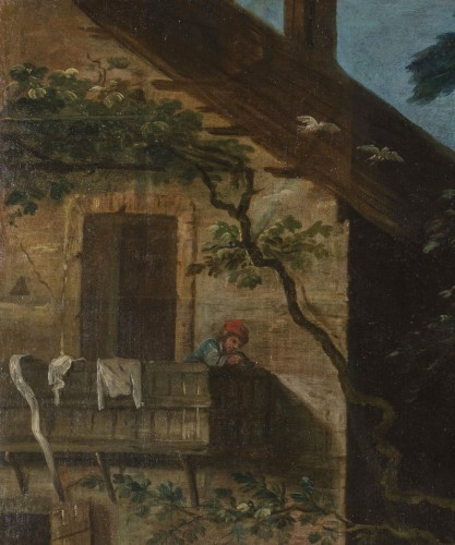18th century - Peasants dancing in front of the tavern - 18th Century, Italian painting