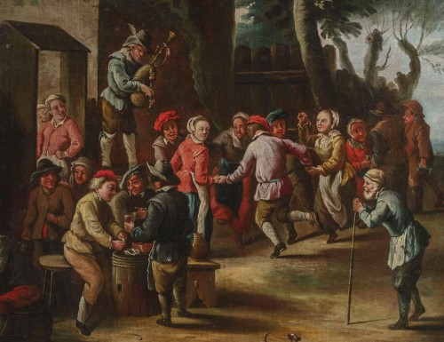 Peasants dancing in front of the tavern - 18th Century, Italian painting -