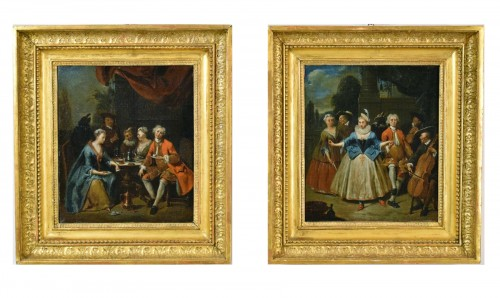 18th century, Banquet and Dance scene by Jan Baptist Lambrechts