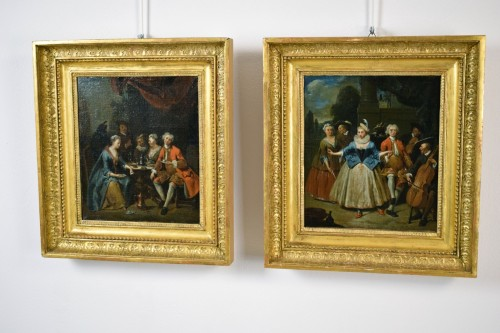 18th century, Banquet and Dance scene by Jan Baptist Lambrechts - Paintings & Drawings Style
