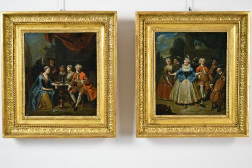 Paintings & Drawings  - 18th century, Banquet and Dance scene by Jan Baptist Lambrechts