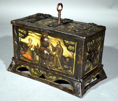 "Small nürnberg casket with scene of ""noli mi tangere"".  renaissance era."