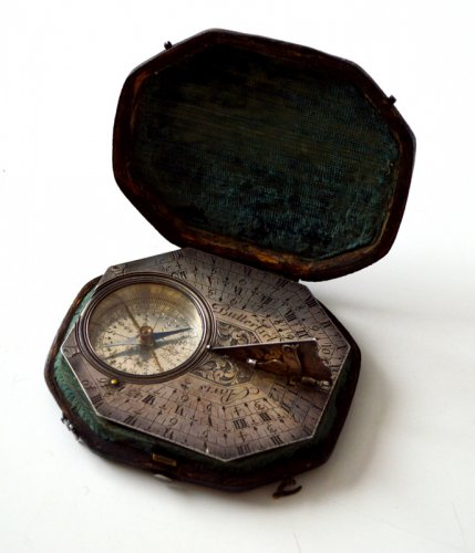 A sundial-compass by michael butterfield.  late 17th century.